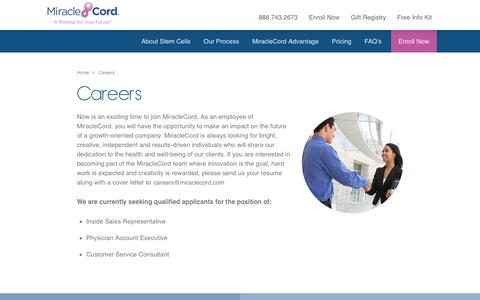 Screenshot of Jobs Page miraclecord.com - Career Opportunities With MiracleCord - The Leader In Cord Blood Banking - captured Nov. 1, 2017