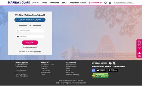 Screenshot of Login Page marinasquare.com.sg - Marina Square - Login - captured Sept. 28, 2018