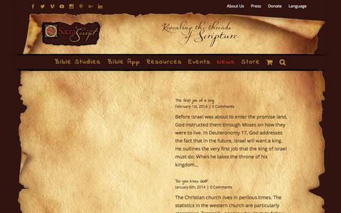 Screenshot of Press Page sacrascript.org - News - Sacra Script Ministries - captured Sept. 27, 2017