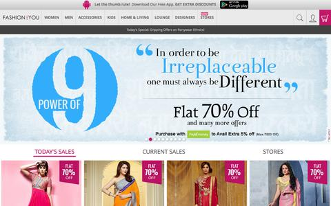 Screenshot of Home Page fashionandyou.com - Online Shopping India: Latest Trends in Fashion Clothing - captured Oct. 19, 2015