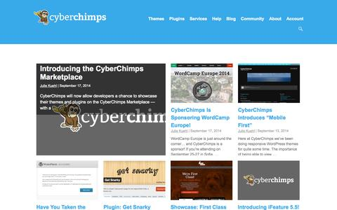 Screenshot of Blog cyberchimps.com - Free & Premium WordPress Themes Blog, WP Themes | CyberChimps | CyberChimps - captured Sept. 18, 2014