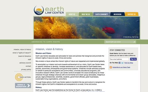 Screenshot of About Page earthlawcenter.org - Earth Law Center - Mission, Vision & History - captured Sept. 26, 2014