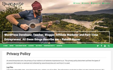 Screenshot of Privacy Page binarynote.com - Privacy Policy for binarynote.com users - captured July 29, 2016