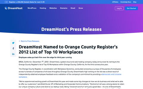 Screenshot of Press Page dreamhost.com - DreamHost Named to Orange County Register's 2012 List of Top 10 Workplaces  – DreamHost - captured Feb. 21, 2020