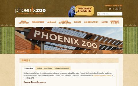 Screenshot of Press Page phoenixzoo.org - Press - Phoenix Zoo - captured April 15, 2017