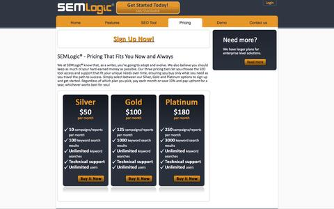 Screenshot of Pricing Page semlogic.com - Buy SEO Software Tools for SEO Search Engine Optimization - SEMLogic® - captured March 6, 2016
