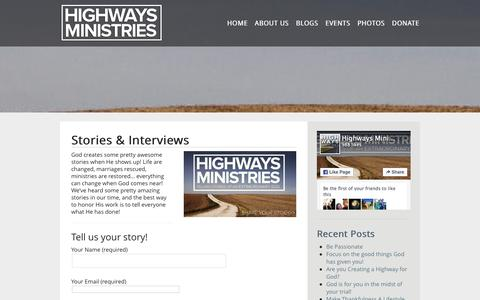 Screenshot of Press Page highwaysministries.com - Stories & Interviews - HIGHWAYS - captured Dec. 10, 2015