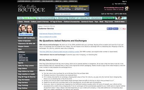 Screenshot of Support Page dogcollarsboutique.com - Customer Service - Dog Collar Boutique - captured Sept. 22, 2014