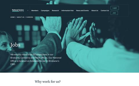 Screenshot of Jobs Page nationalseniors.com.au - Jobs - National Seniors - captured Dec. 20, 2018