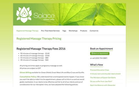 Screenshot of Pricing Page solacecentre.ca - Registered Massage Therapy Pricing | Nanaimo, BC - captured March 11, 2016