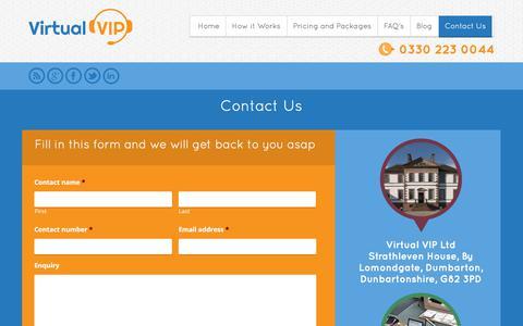 Screenshot of Contact Page virtualvip.co.uk - Contact Us   Virtual VIP - captured Sept. 20, 2018