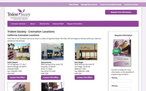 Screenshot of Locations Page tridentsociety.com - Trident Society - Cremation Locations - captured Feb. 25, 2016