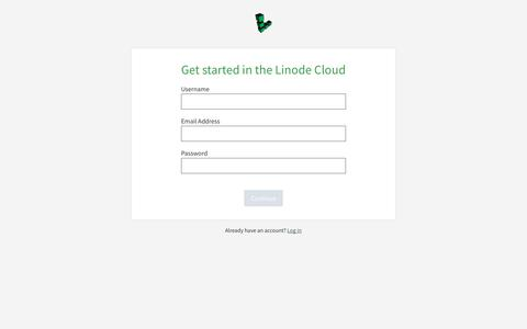 Screenshot of Signup Page linode.com - Get started in the Linode Cloud - Linode Manager - captured March 14, 2019