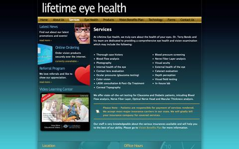 Screenshot of Services Page terrybondsod.com - Lifetime Eye Health \  Comprehensive Eye Health Exams - captured Sept. 28, 2018