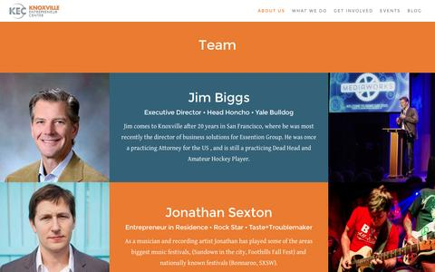 Screenshot of Team Page knoxec.com - Team - Knoxville Entrepreneur Center - captured Feb. 12, 2016