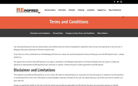 Screenshot of Terms Page reinspired.org.uk - Terms and conditions   REInspired - captured Nov. 7, 2017