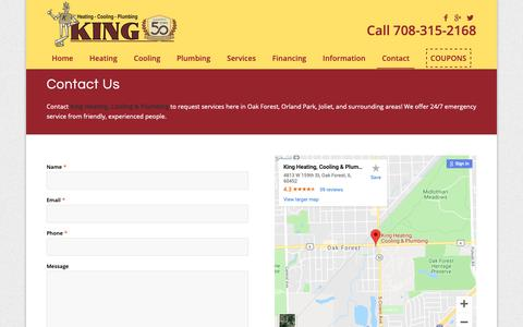 Screenshot of Contact Page kingheating.com - Contact King Heating and Cooling - captured Oct. 15, 2018