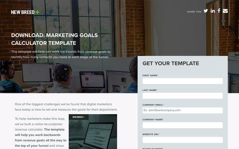 Marketing Goals Template Calculator | New Breed