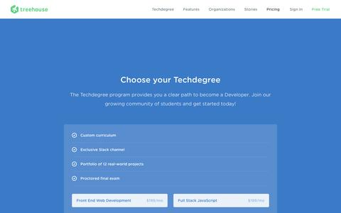 Screenshot of Pricing Page teamtreehouse.com - Start Your Techdegree | Treehouse - captured July 29, 2016