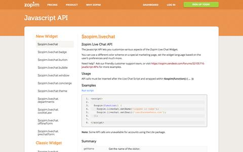 Screenshot of Developers Page zopim.com - $zopim.livechat - Javascript API - captured Oct. 28, 2014