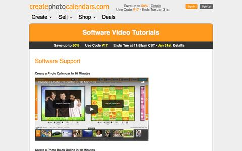 Screenshot of Support Page createphotocalendars.com - Create Photo Calendars Support and Help Videos - captured Jan. 26, 2017