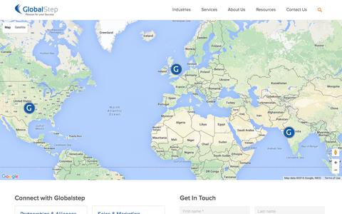 Screenshot of Contact Page globalstep.com - Contact GlobalStep   Request Services - captured July 15, 2016