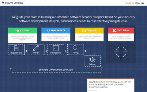 Screenshot of Home Page securitycompass.com - Security Compass · Security Compass - captured July 15, 2015