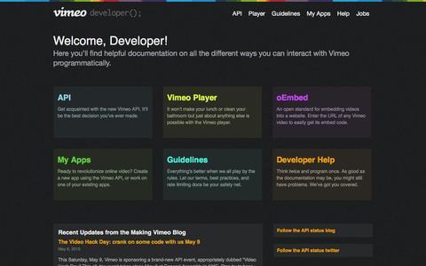 Screenshot of Developers Page vimeo.com - Vimeo Developer API - captured Nov. 25, 2015