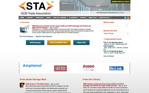 Screenshot of Home Page scsita.org - SCSI Trade Association - captured Oct. 3, 2014