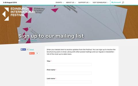 Screenshot of Signup Page eif.co.uk - Sign up to our mailing list | Edinburgh International Festival - captured Oct. 20, 2015