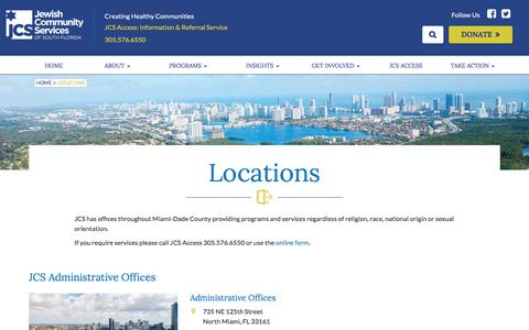 Screenshot of Locations Page jcsfl.org - Locations – Jewish Community Services South Florida - captured Nov. 27, 2016