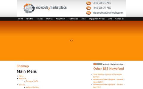 Screenshot of Site Map Page molecule2marketplace.com - Sitemap - captured Sept. 30, 2014