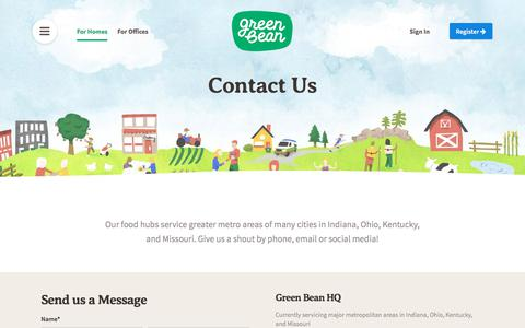 Screenshot of Contact Page greenbeandelivery.com - Green Bean Delivery - Organic + Natural Groceries Delivered - captured Jan. 29, 2018