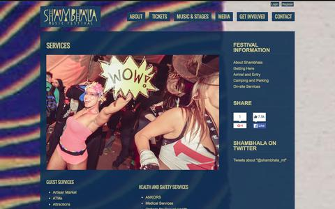 Screenshot of Services Page shambhalamusicfestival.com - Services   -  Shambhala Music Festival - captured Jan. 30, 2016