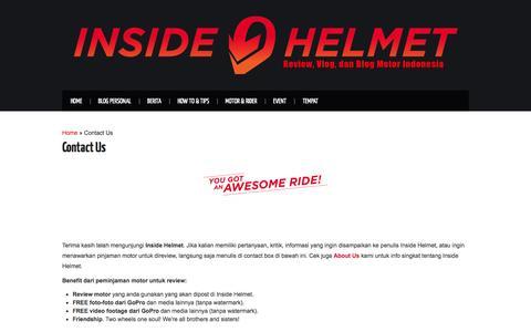 Screenshot of Contact Page insidehelmet.com - Contact Us   Inside Helmet - captured Jan. 8, 2016