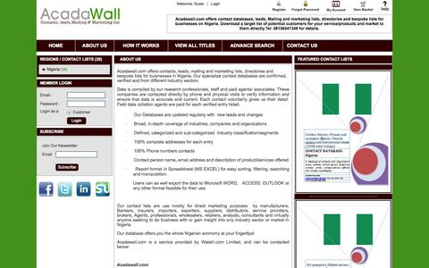 Screenshot of About Page acadawall.com - Acadawall | Contact databases, leads, mailing and marketing list| About Us - captured Oct. 4, 2014