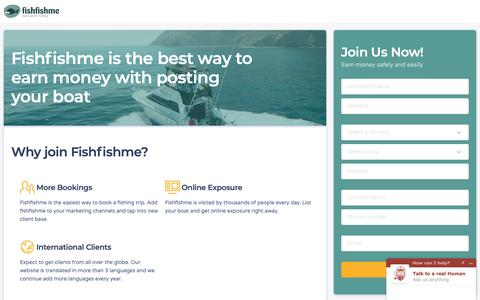 Screenshot of Signup Page fishfishme.com - List Your Fishing Charter For Free | FishFishMe - captured Nov. 4, 2018