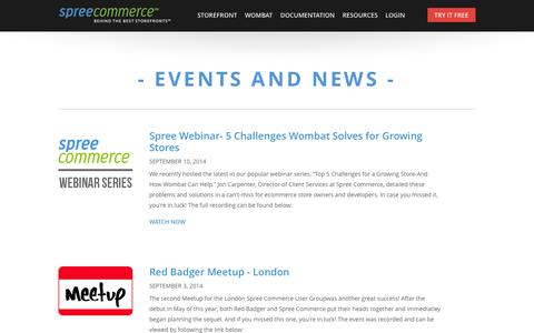 Screenshot of Press Page spreecommerce.com - Spree Commerce News and Events | Spree Commerce - captured Sept. 17, 2014