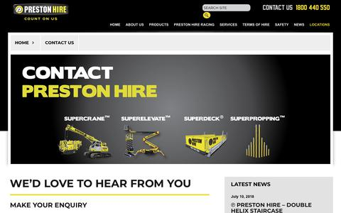 Screenshot of Contact Page prestonhire.com.au - Contact Us - captured July 21, 2018