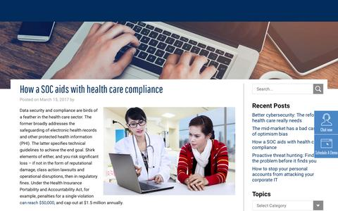 How a SOC aids with health care compliance