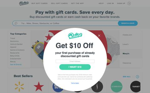 Screenshot of Home Page raise.com - Buy & Sell Discounted Gift Cards - Save Today! | Raise - captured Aug. 22, 2019