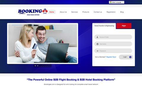Screenshot of Home Page bookingee.com - Bookingee.com Online B2B flight Booking ,Online B2B Hotel Booking - captured Oct. 5, 2014