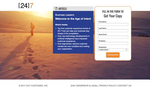 Screenshot of Landing Page 247-inc.com - Welcome to the Age of Intent - captured Sept. 11, 2017