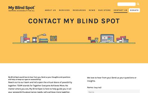 Screenshot of Contact Page myblindspot.org - Contact My Blind Spot with all of your Accessibility needs and questions | My Blind Spot - captured Sept. 20, 2018