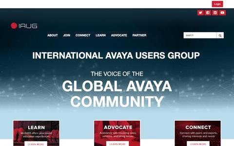 Screenshot of iaug.org - Home - International Avaya Users Group - captured Oct. 3, 2018