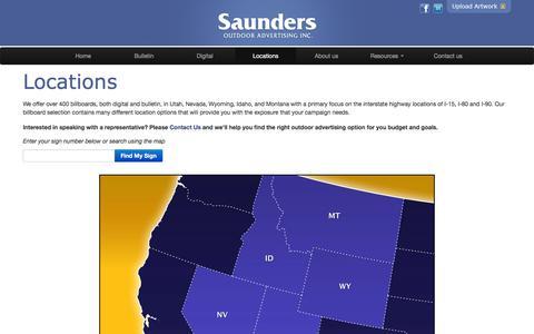 Screenshot of Locations Page saundersoutdoor.com - Billboards in Montana, Wyoming, Idaho, Utah or Nevada - captured Feb. 4, 2016
