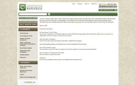 Screenshot of Privacy Page conservationwarehouse.com captured Sept. 24, 2014