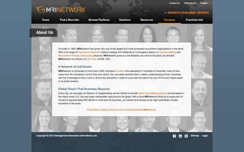 Screenshot of About Page mrinetwork.com - We're one of the largest and most successful recruitment organizations in the World | MRINetwork - captured Sept. 19, 2014