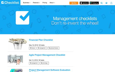 Screenshot of Team Page checklist.com - 5 Management Checklist Templates - Customizable - Printable - PDF - captured Sept. 22, 2018