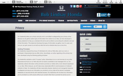 Screenshot of Privacy Page boblindsayhonda.com - Bob Lindsay Honda | New Honda dealership in Peoria, IL 61615 - captured Oct. 5, 2014